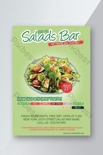 Dépliant du menu du bar à salade Modèle PSD