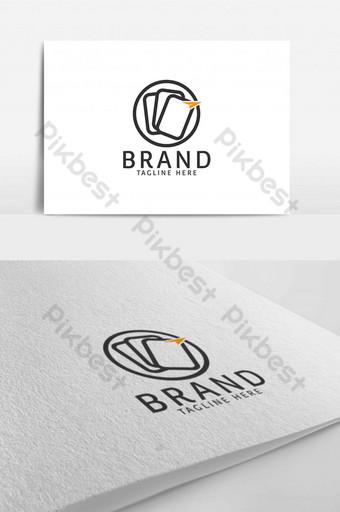 lingkaran akuntansi bisnis template kertas dan data dalam logo hitam dan oranye Templat AI