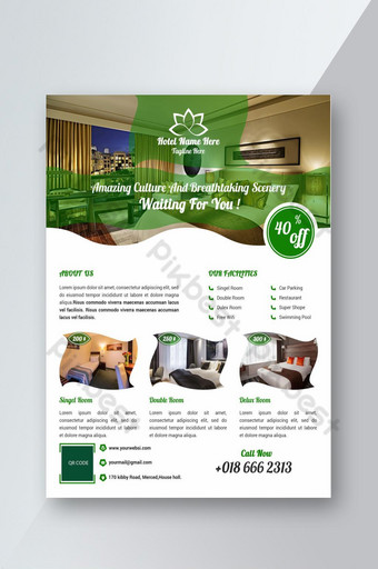 modelo de folheto de hotel Modelo PSD