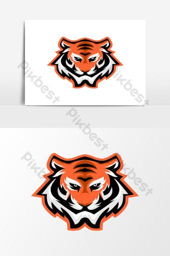 elemento gráfico de vector de diseño de logotipo de mascota de tigre Elementos graficos Modelo EPS