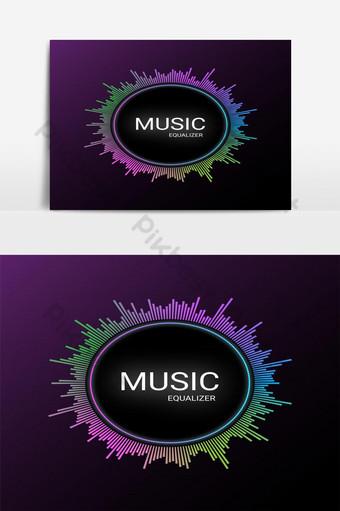 elemento gráfico de vector de visualizador de audio de ecualizador de música colorida Elementos graficos Modelo EPS
