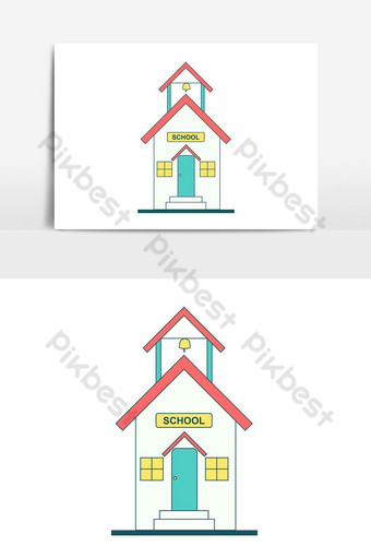 elemento gráfico de vector pop de edificio de escuela simple Elementos graficos Modelo PSD
