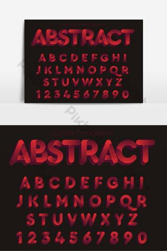 elemento gráfico de vector de fuente artística redondeada negrita abstracta roja Elementos graficos Modelo EPS