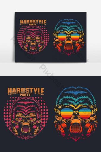 máscara de gorila elemento gráfico de vector de fiesta duro retro Elementos graficos Modelo EPS