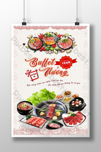 barbecue buffet deliberately delicacies poster dishes cheap barbecue buffet for every home Template AI
