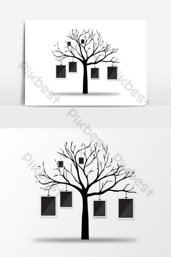 elemento gráfico de vector de marco de foto de árbol creativo Elementos graficos Modelo AI