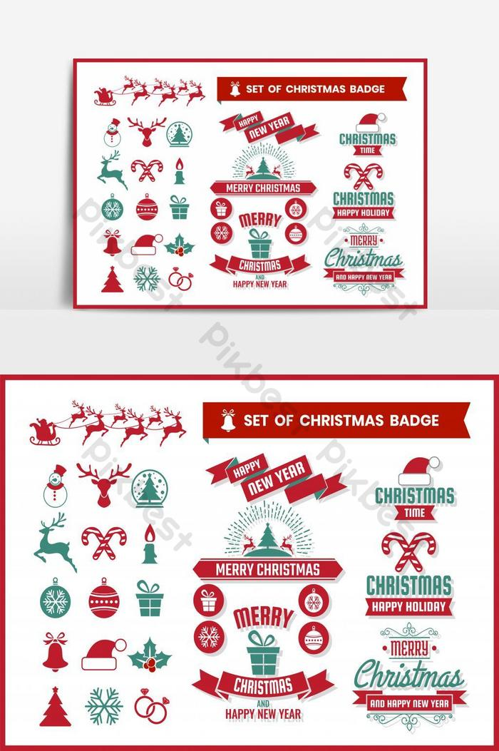 橫幅捆綁矢量圖形元素的聖誕節復古時尚圖標