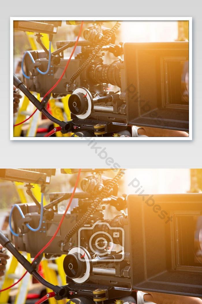 फिल्म उद्योग पेशेवर कैमरा पृष्ठभूमि तस्वीर के साथ फिल्माने