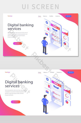 Flat color Modern Isometric Concept Digital banking services UI Screen UI Template EPS