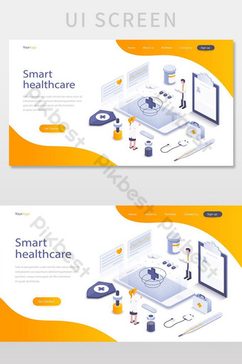 плоский цветной современный изометрический концепт умный экран пользовательского интерфейса здравоохранения UI шаблон EPS