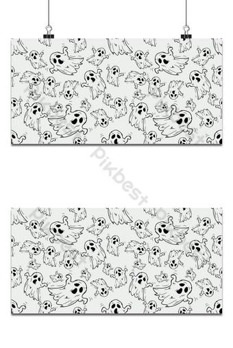 Escala de grises o monocromo patrón de halloween fondo transparente doodle Fondos Modelo EPS