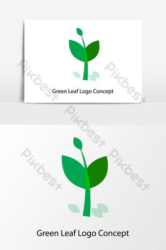 مفهوم شعار الورقة الخضراء الطبيعية عنصر الرسم ناقلات صور PNG قالب AI
