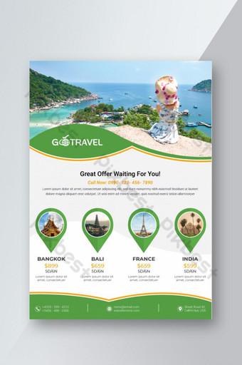 Conception de flyers de voyage et de tourisme mondial Modèle AI