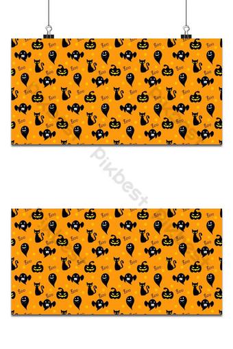 elementos de halloween de patrones sin fisuras gato negro fantasma y fondo de calabaza de halloween Fondos Modelo EPS