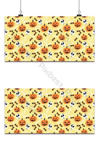 lindo truco o trato de patrones sin fisuras de calabaza y cráneo de halloween Fondos Modelo EPS