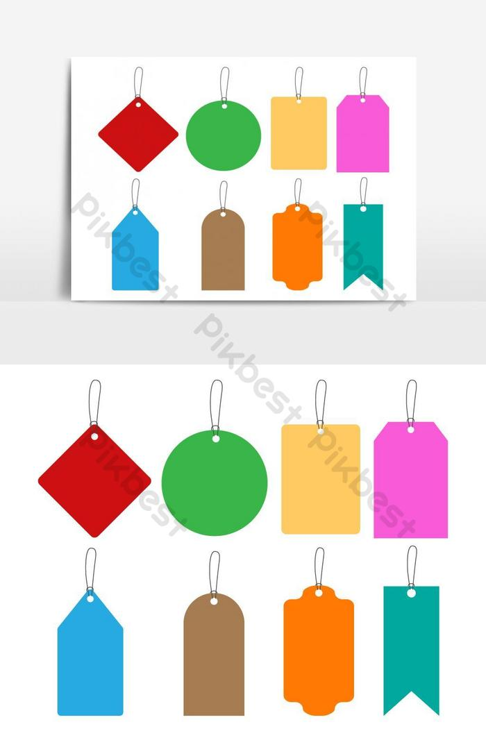 多彩吊牌捆綁矢量圖形元素