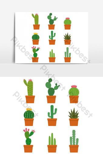 elemen grafis vektor bundel tanaman kaktus Elemen Grafis Templat AI