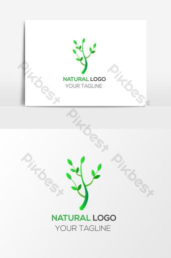 مفهوم شعار الطبيعة الخضراء الإبداعية وعناصر الرسم ناقلات أيقونة صور PNG قالب AI