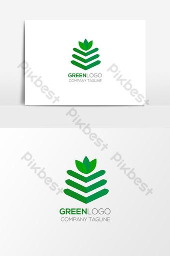 شعار الطبيعة الخضراء الإبداعية وأيقونة عنصر الرسم ناقلات صور PNG قالب AI