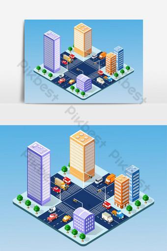 conjunto isométrico del elemento gráfico de vector de ciudad moderna Elementos graficos Modelo AI