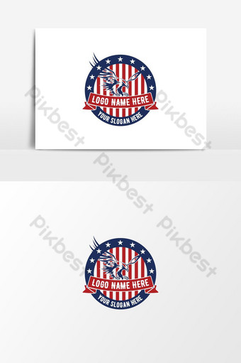 plantilla de diseño de logotipo americano plantilla de diseño de logotipo retro vintage elemento gráfico vectorial Elementos graficos Modelo AI