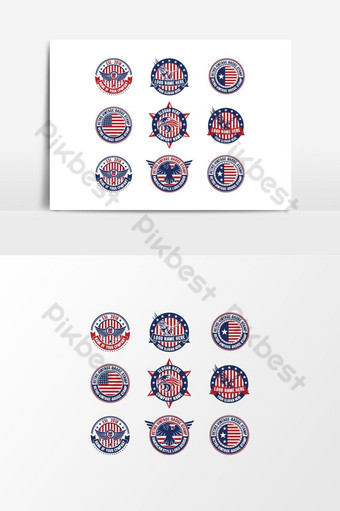 paquete de diseño de logotipo americano paquete de diseño de logotipo retro vintage elemento gráfico vectorial Elementos graficos Modelo AI