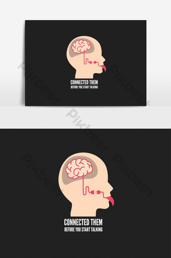 Brain And Tongue Connected Social Message vector graphic element PNG Images Template EPS