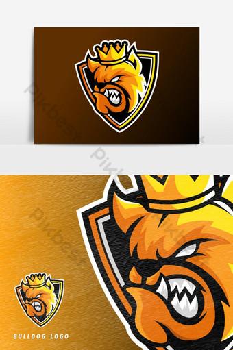 enojado rey bulldog perro animal esport juego mascota logo vector elemento gráfico Elementos graficos Modelo AI