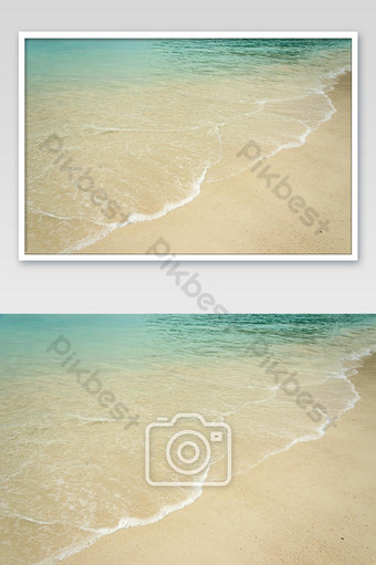 Empty sea and beach background with copy space photo Photo Template JPG