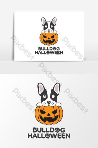 elemento gráfico de vector de tema de halloween de bulldog Elementos graficos Modelo AI