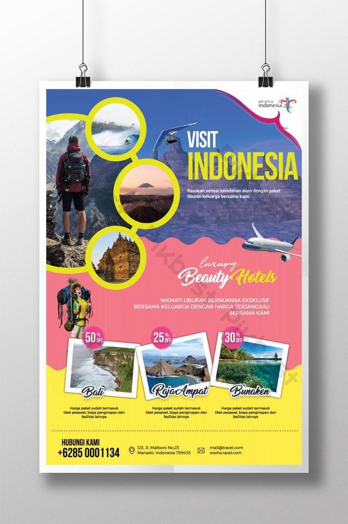 poster promosi perjalanan percutian
