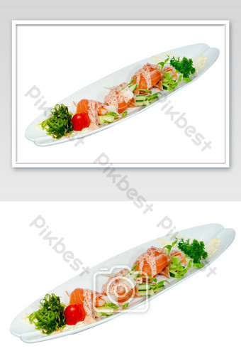salmon salad roll isolated photo Photo Template JPG