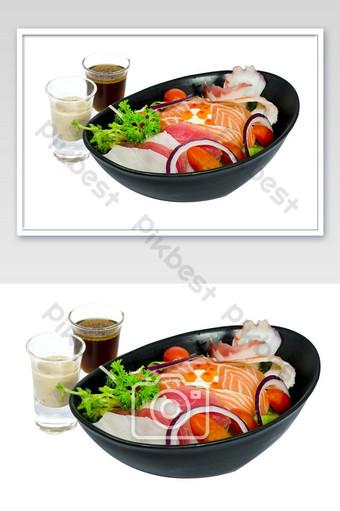 sashimi sushi salad raw salmon tuna octopus and sauce photo Photo Template JPG