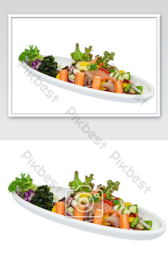 Sashimi spicy raw fish salad on white backdrop photo Photo Template JPG
