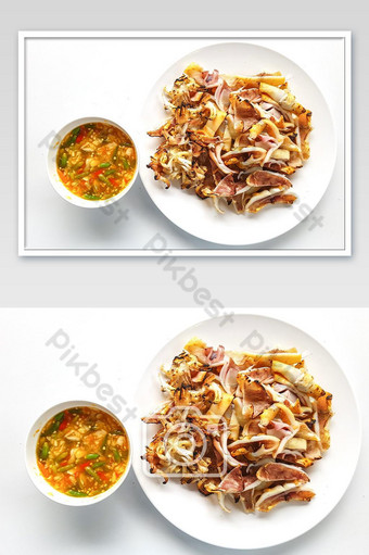 Grilled Squid with seafood Sauce photo Photo Template JPG