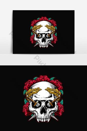 elemento gráfico del vector del diseño gráfico floral del ejemplo del cráneo Elementos graficos Modelo AI