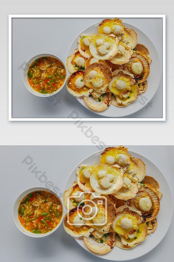 Grilled scallops with butter and spicy seafood sauce photo Photo Template JPG