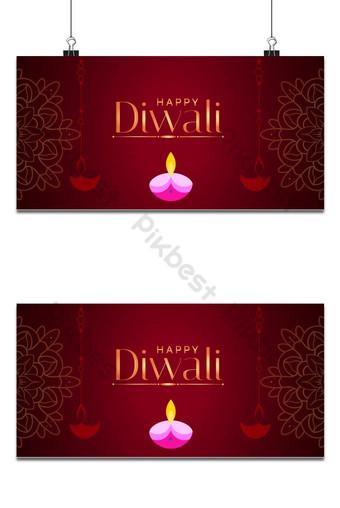 elegante lámpara floral feliz diwali fondo rojo decorativo Fondos Modelo AI