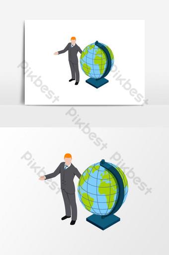человек делает презентацию с глобусом изометрической векторной графики Графические элементы шаблон EPS