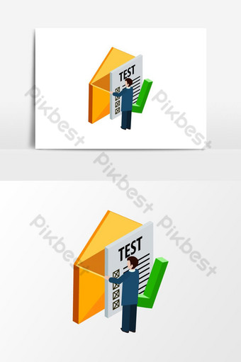 A man open test mail box isometric Vector Graphic Element PNG Images Template EPS