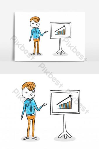 empresario presentando datos de marketing en un elemento gráfico de vector de tablero de pantalla de presentación Elementos graficos Modelo EPS