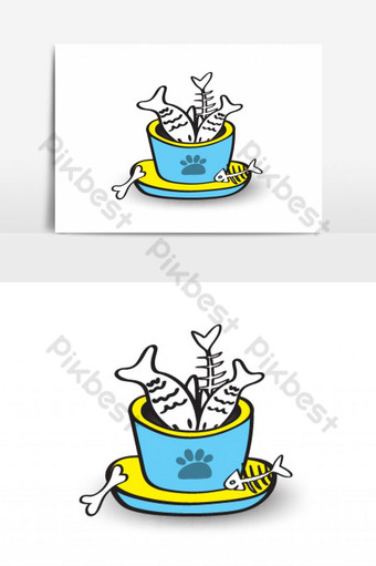 pet animal bowls with seafood Vector Graphic Element PNG Images Template EPS
