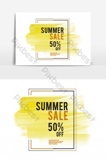 Trazo de pincel de acuarela amarilla con elemento gráfico de vector de marco Elementos graficos Modelo EPS