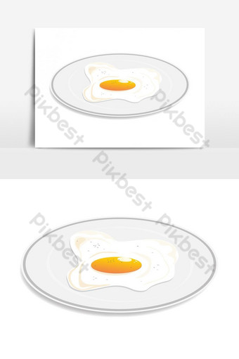 fried egg on dish served everyday in the morning vector graphic element PNG Images Template AI