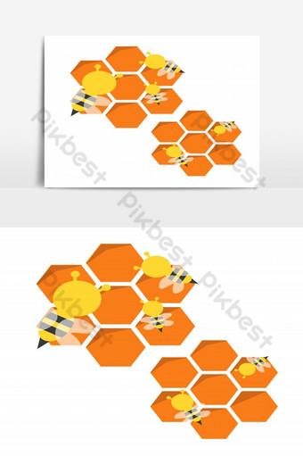 الكرتون النحل مع عنصر الرسم ناقلات قرص العسل صور PNG قالب EPS
