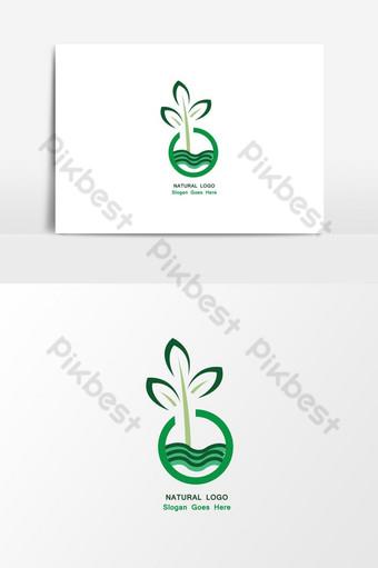 الإبداعية الطبيعية الخضراء شعار ناقلات عنصر الرسم صور PNG قالب AI