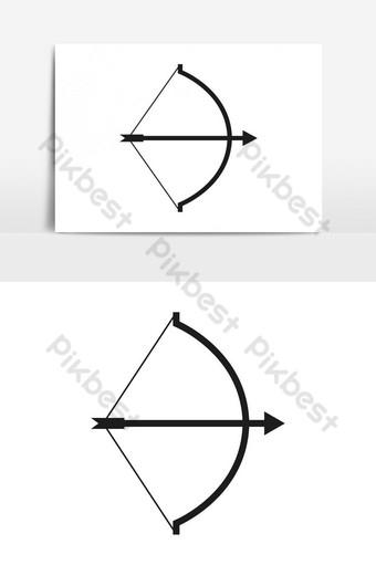 icono de arco con elemento gráfico de vector de flecha Elementos graficos Modelo EPS
