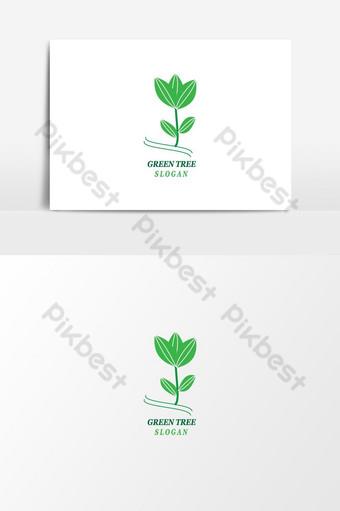 الورقة الخضراء شعار طبيعي ناقلات عنصر الرسم المفاهيمي صور PNG قالب AI