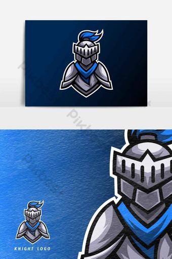 Plantilla de diseño de logotipo de esport deportivo de caballero azul con elemento gráfico de vector de armadura y casco Elementos graficos Modelo AI