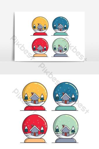 bola de cristal de nieve en colores pop elemento gráfico vectorial Elementos graficos Modelo PSD